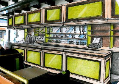 Décoration d'intérieur & agencement bar PMU Le Véga à Cabourg (Calvados) - Perspective colorisée