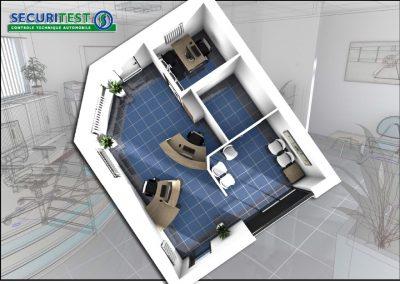 Aménagement et mobilier bureau à Coutance (Manche 50 en Normandie) Implantation 3D