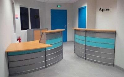 Aménagement de l'Accueil & mobilier de bureau d'un centre de contrôle technique automobile à Coutances