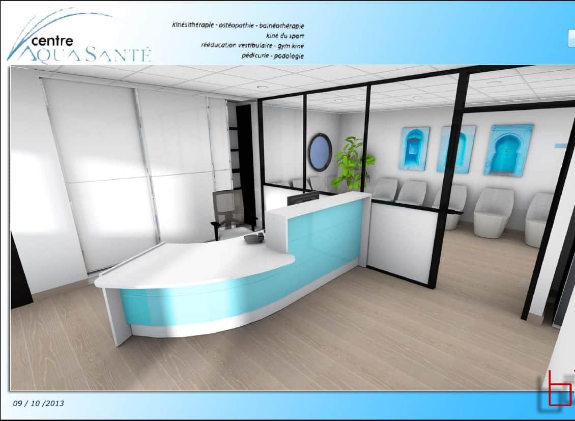 aménagement de l'accueil & de la salle d'attente d'un Centre Aqua-Santé