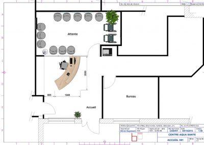 Aménagement accueil, banque d'accueil, salle d'attente 2D