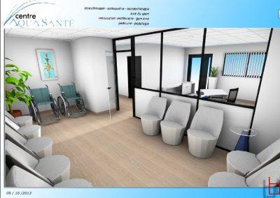Aménagement accueil, banque d'accueil, salle d'attente