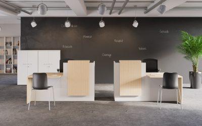 Aménagement d'un comptoir d'accueil à Hérouville St Clair (Caen-Calvados-14)