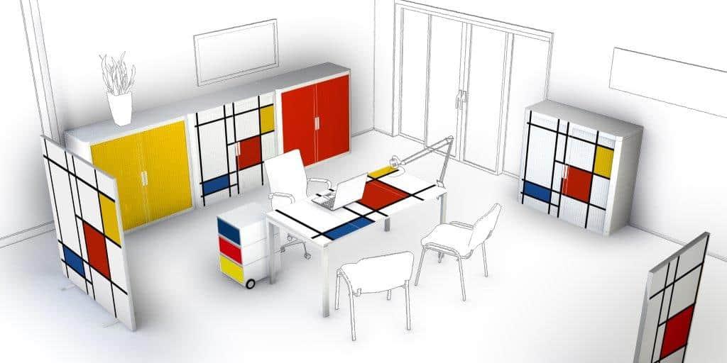 classement, rangement de bureau (armoires coloris Mandrian - BÔ easy.