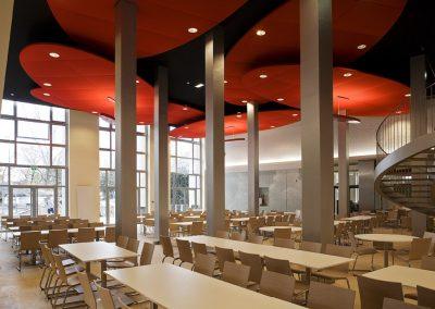 panneaux acoustiques rouges cafétéria, restaurant, brasserie Calvados-14 ( Normandie)