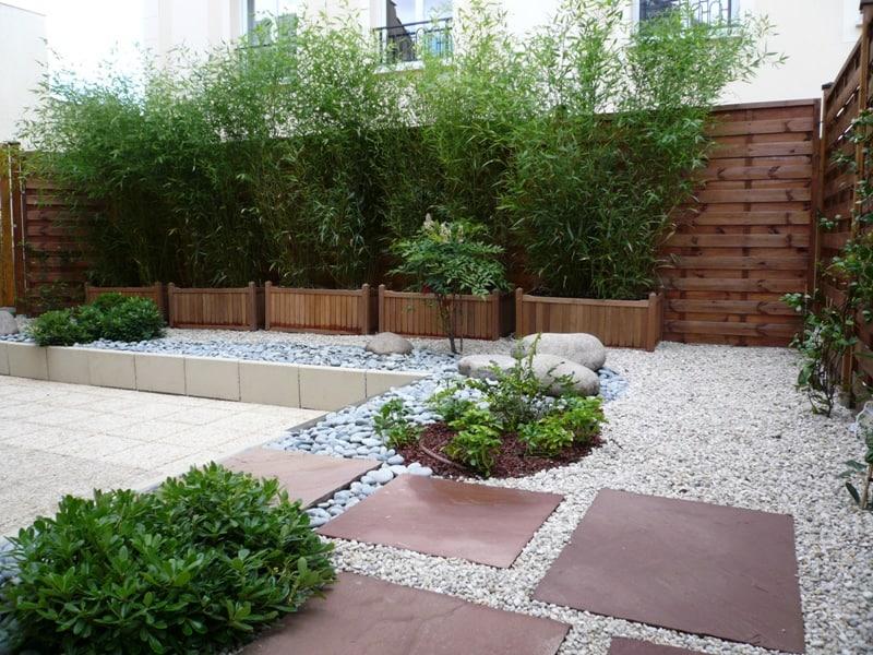 """Décoration extérieure terrasse patio """"Carré Niwa"""" (Caen - Calvados -14 en Normandie)"""