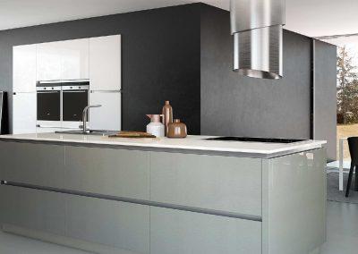 Agencement, aménagement de cuisines - visuels 3D - Blanc brillant, alu brossé  - Caen (Calvados-14) en Normandie