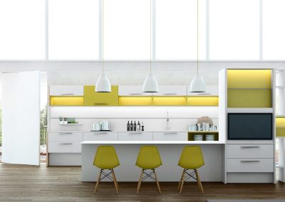 Agencement, aménagement de cuisines - visuels 3D - Blanc, mourtarde, modèle Australe - Caen (Calvados-14) en Normandie