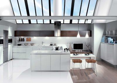 Agencement, aménagement de cuisines - visuels 3D - Djin, blanc brillant - Caen (Calvados-14) en Normandie