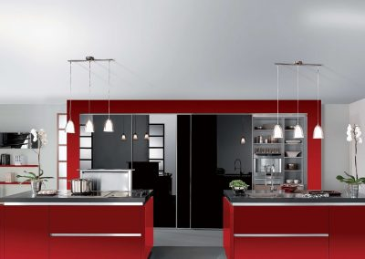 Agencement, aménagement de cuisines - visuels 3D - Djin, vernis rouge et noir - Caen (Calvados-14) en Normandie