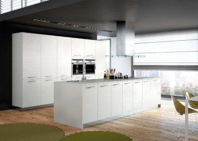 Agencement, aménagement de cuisines - visuels 3D - modèle Structura, blanc rainuré - Caen (Calvados-14) en Normandie