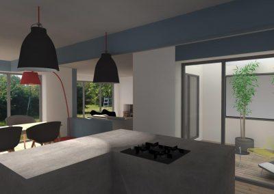 Agencement cuisine ouverte d'un résidence ou maision d'un particulier (Caen - Calvados 14 en Normandie)