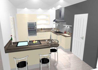 Agencement, aménagement de cuisines - visuels 3D - Résidence particulier - Caen (Calvados-14) en Normandie