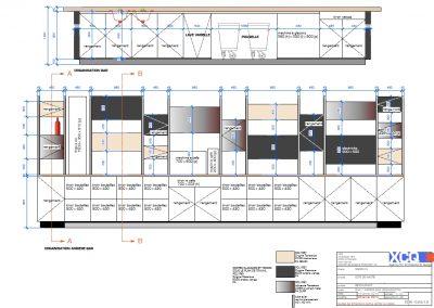 Vue 2D d'un proposition d'agencement et mobilier pour un restaurant à Caen (Calvados -14) en Normandie