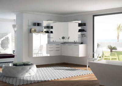 """Agencement et mobilier de salle de bain """"Banquise blanc brillant"""" - Caen (Calvados-14) en Normandie"""