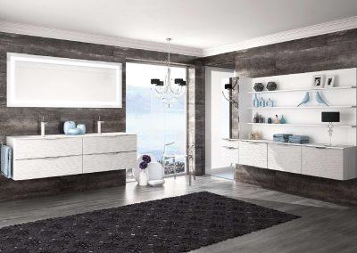 """Agencement et mobilier de salle de bain """"Coprah Wave Blanc"""" - Caen (Calvados-14) en Normandie"""