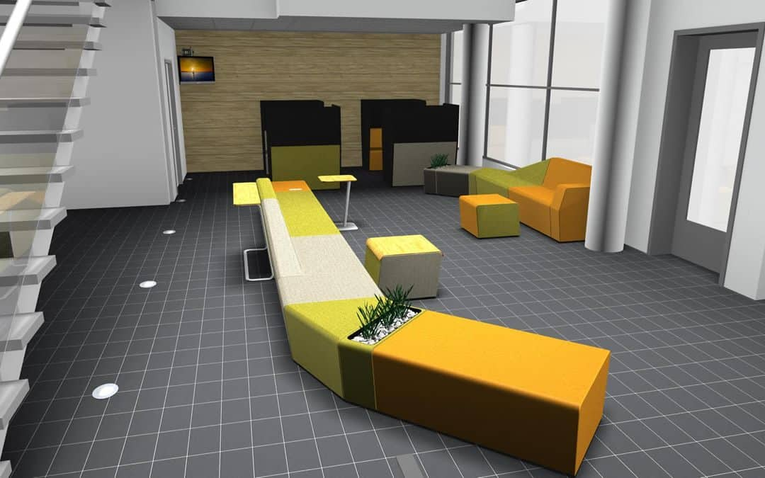 Agencement en mobilier d'accueil, de réception et de salle d'attente à Alençon (Orne – Normandie)