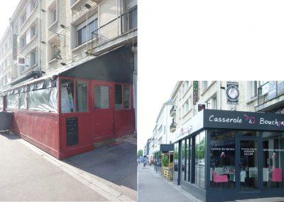 Avant et Après Relooking façade restaurant à Caen (Calvados -14) en Normandie