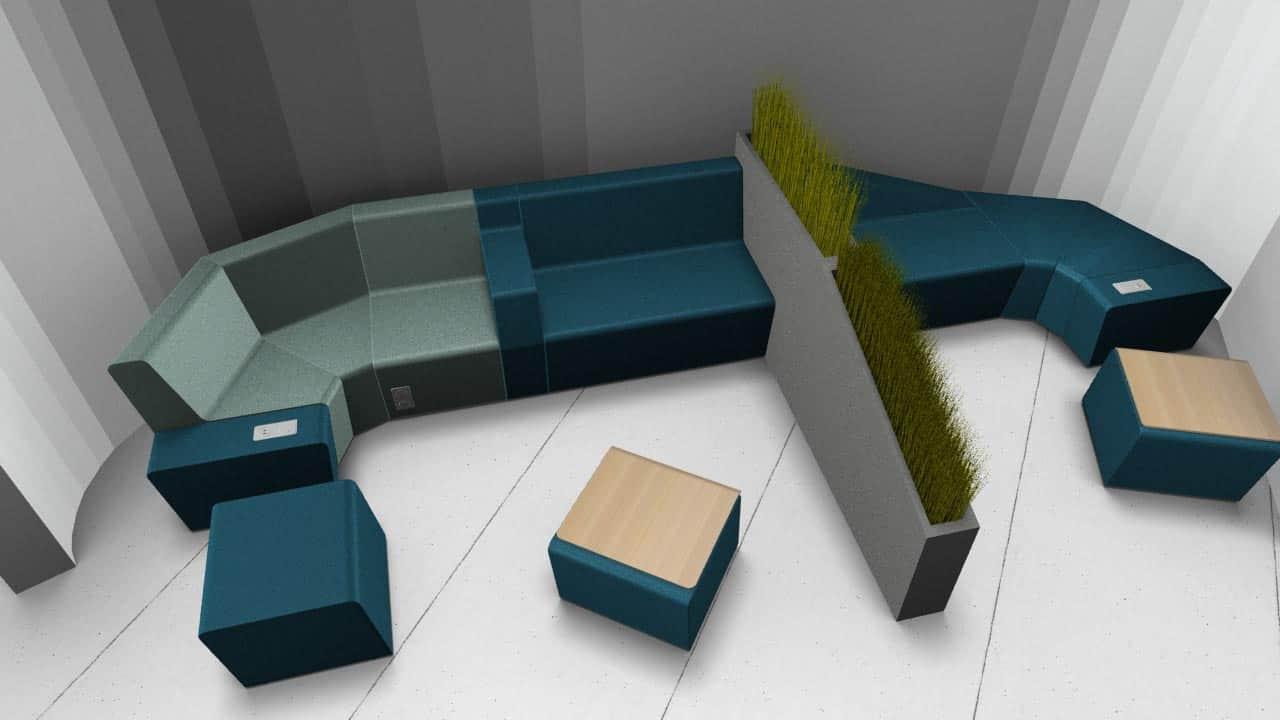 Agencement de bureau à Caen (mobilier accueil pour l'espace créativité)