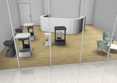 mobilier espace cafétéria de bureau  à Caen - Visuel 3D
