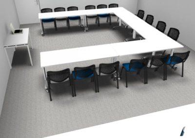 mobilier salle de formation à Caen - Visuel 3D
