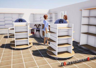 Visuel 3D de l'accueil d'une clinique vétérinaire à Argentan (Orne) en Normandie