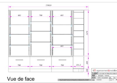 Vues 2D meuble de rangement de l'accueil'une clinique vétérinaire à Argentan (Orne) en Normandie
