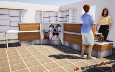 Agencement et mobilier pour l'accueil d'une clinique vétérinaire à Argentan (Orne)