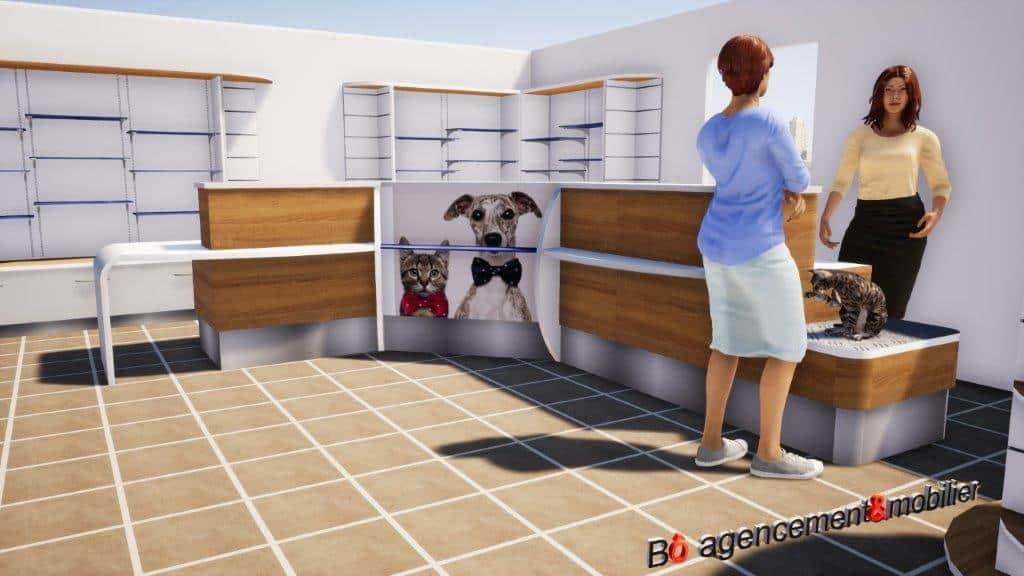 Agencement & mobilier pour l'accueil d'une clinique vétérinaire à Argentan (Orne)