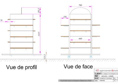 Vues 2D de la gondole de l'accueil'une clinique vétérinaire à Argentan (Orne) en Normandie