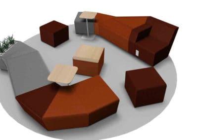 Avant Projet - Perspective 3D cube - Salle d'attente à Caen - Récréa