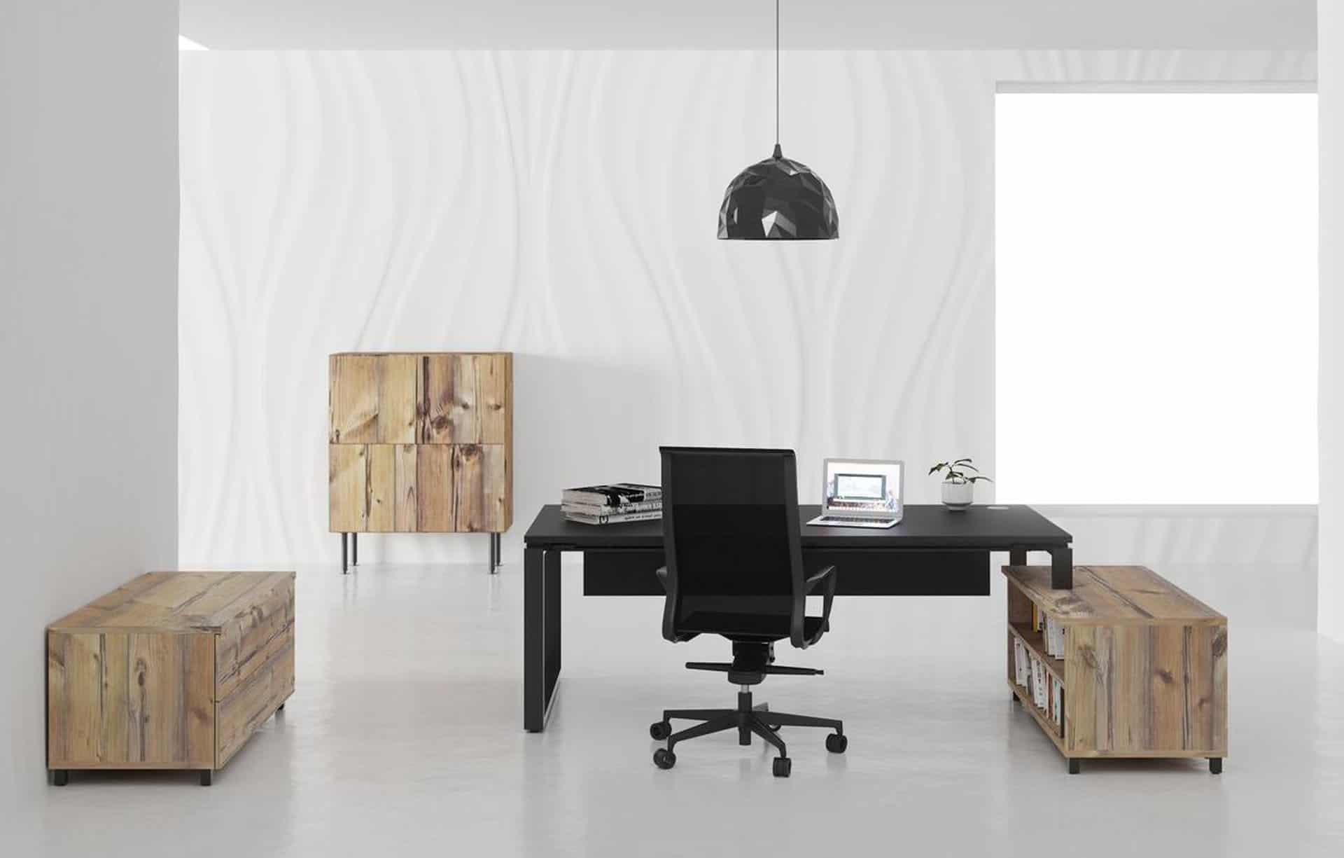 Bureau de direction Caen;Bayeux (Calvados -14) - Mobilier de bureau Buronomic Prestige Bicolore Noire Plateau Timber  avec de rangements