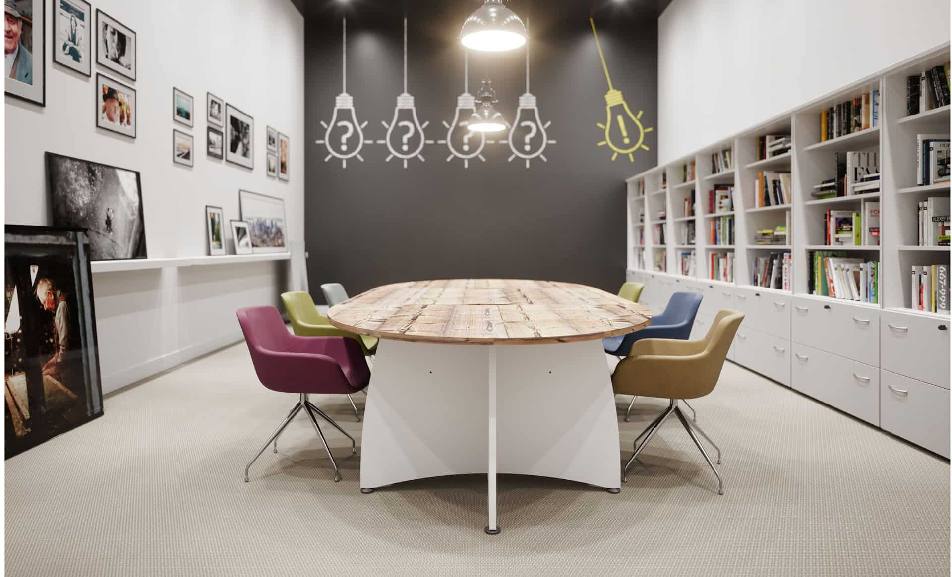 Mobilier de salle de réunion à Caen, Bayeux (Calvados -14) en Normandie - Buronomic Ensemble - Piètement Croix Plateau timber
