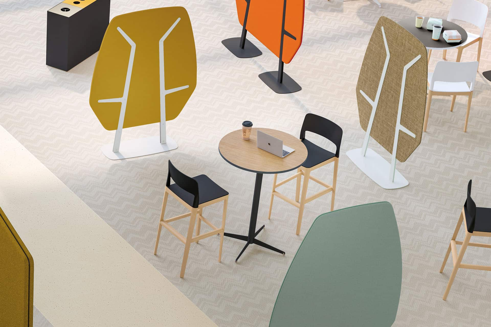 Séparation phonique caféteria, coworking   CLEN - Mobilier acoustique bureau à Caen