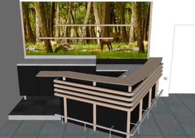 comptoir-bar en bois & inox dans l'Orne (61) en Normandie - Vue 3D face