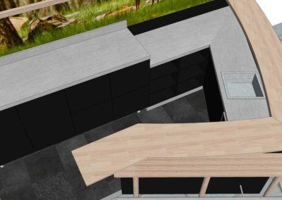 comptoir-bar en bois & inox dans l'Orne (61) en Normandie - Vue 3D dessus plongeante