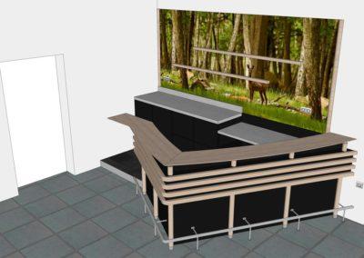 comptoir-bar en bois & inox dans l'Orne (61) en Normandie - Vue 3D diagonale côté