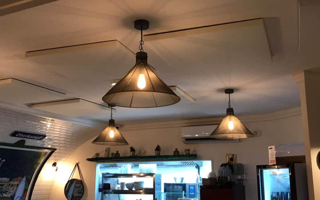 Réduction du bruit par panneaux acoustiques au restaurant La Boucherie & à la basserie Le Métro dans les Antilles Françaises en Guadeloupe à Fort-de-France