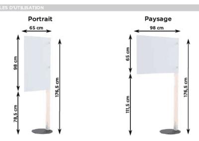 Dimensions de cloisons de protection anti projections pour bureau, banque et comptoir d'accueil