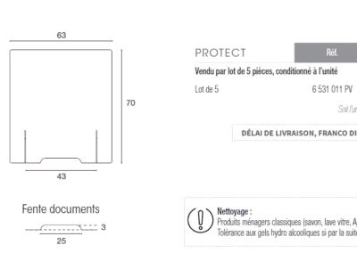 écran et panneau de protecton anti projections (postillons) pour banque d'accueil - Prix Lot de 5 - 730 €