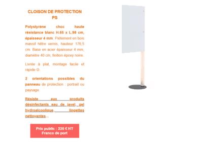 Prix cloison de protection antii-projections COVID 19