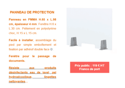 Prix panneau de protection transparent antii-projections COVID 19